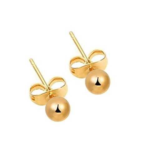 dcbe81b26404 FushoP 18K Rose Pendientes de perlas de flores para las mujeres (Oro de  Rose plateado). 14 K Amarillo Oro 3 mm Ronda Real bola Stud arete