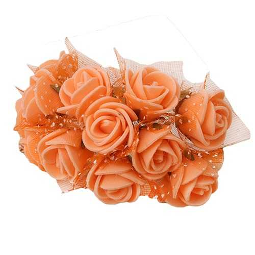 144 PCS Artificial PE Espuma Rose Flower para la Novia de la Boda Ramo de Damas de Honor Mesa en casa Fiesta Bar decoración DIY Naranja