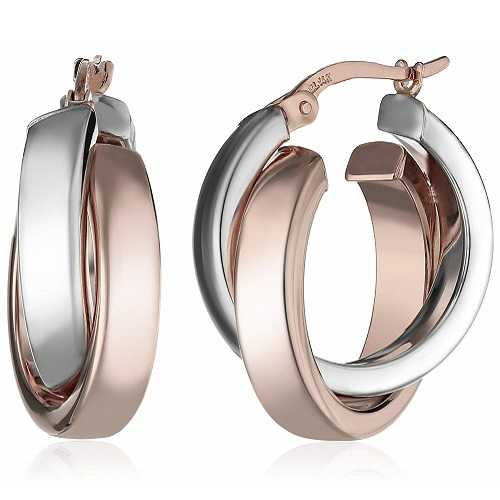 Amazon Collection14k White and Rose Gold Two-Tone Satin and Polished Crossover Hoop Earrings