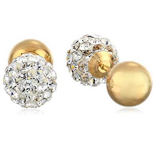 Amazon Collection14k Yellow Gold and Crystal Ball-Back Reversible Stud Earrings