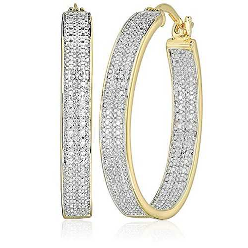 Amazon CollectionTwo-Tone Diamond Accent Oval Inside/Out Hoop Earrings