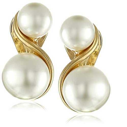 Anne Klein - Aretes de clip a presión con perlas de imitación y tono dorado