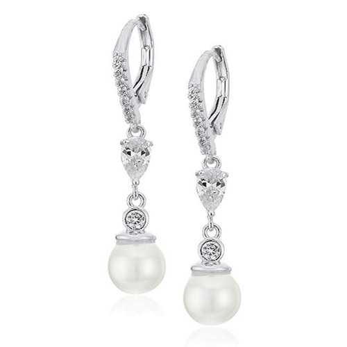 """Anne Klein""""Precious Pieces"""" - arete de gota lineales con perlas y circonitas cúbicas"""