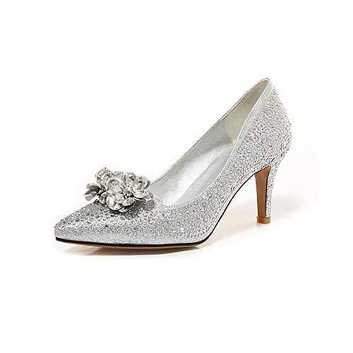 CCBubble Zapatos de Boda para Mujer, tacón Alto, talón 2018, Puntera Puntiaguda, Zapatos de Novia