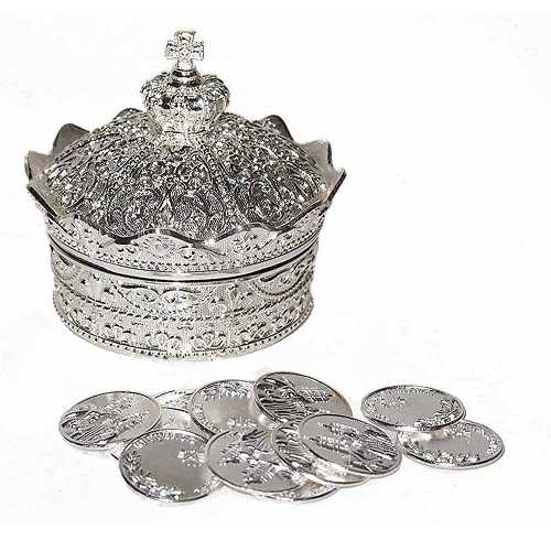 Elegante Corona Arras de boda con 13 Plata Monedas Set