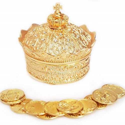 Elegante corona de oro para Arras de boda con 13 monedas