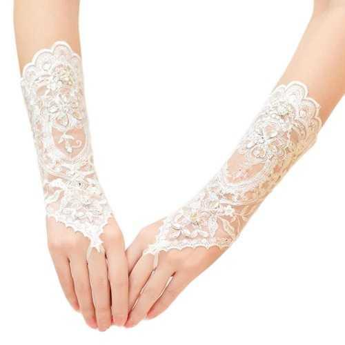 Elegantes guantes sin dedos de la boda vestido de fiesta de la novia guantes de encaje
