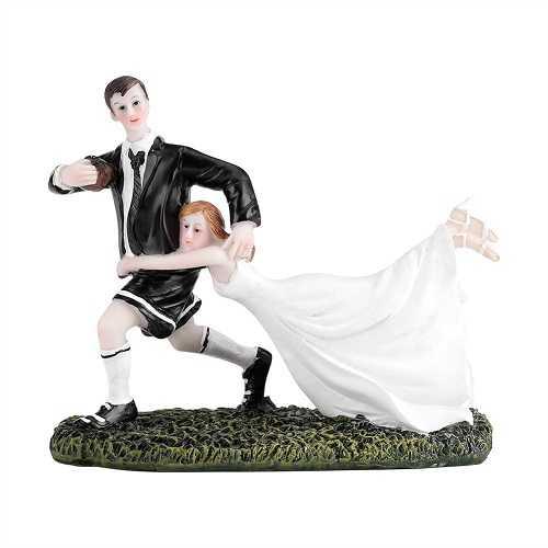 Estatuilla de los pares del rugbi del novio de la novia del baile para los coleccionables de la boda de las tortas de boda Topper