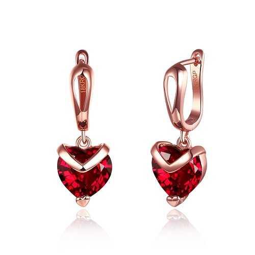 FushoP 18K Forma de Corazón de Cristal rojo CZ Drop Dangle Huggie Aretes de aro (Oro de Rose plateado)