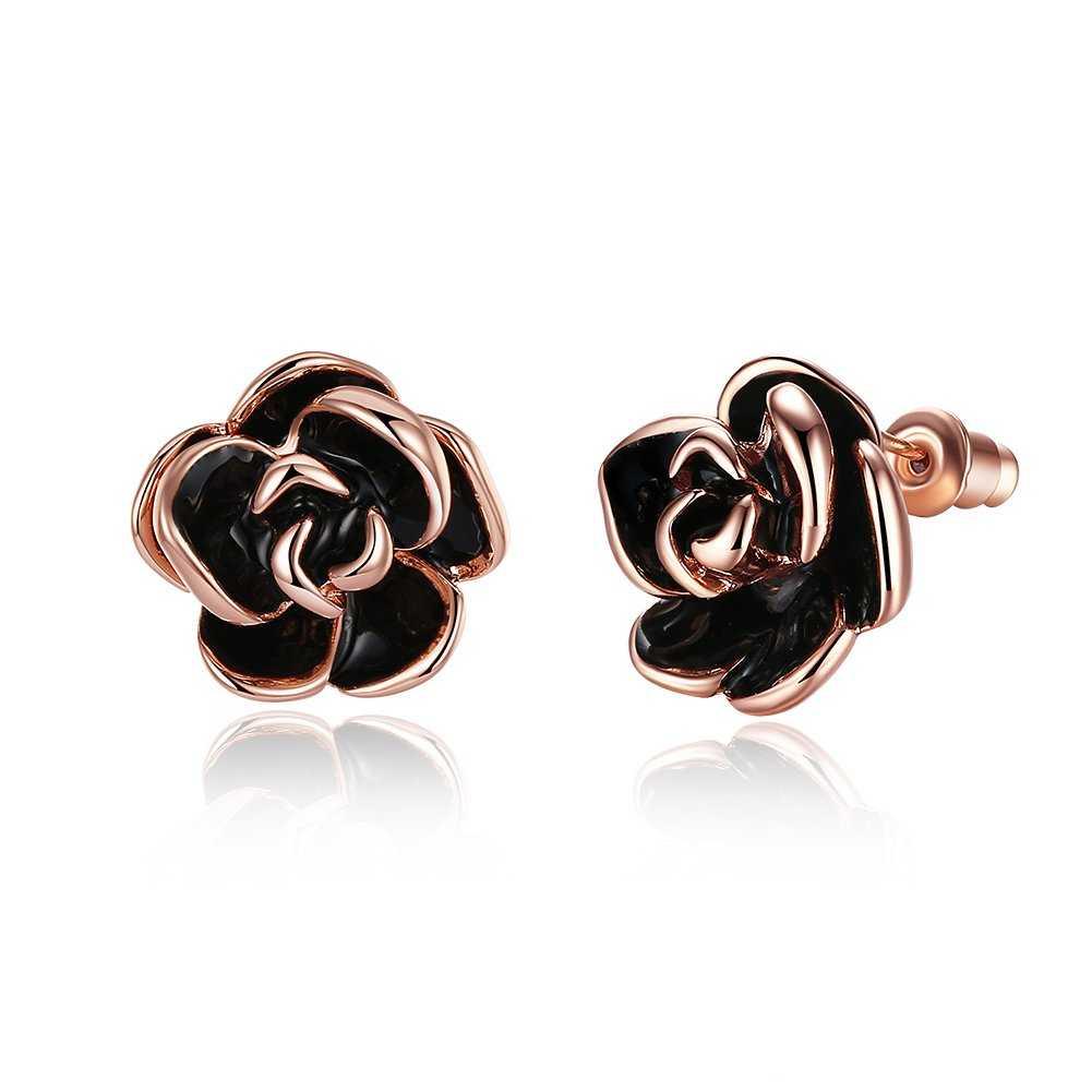 FushoP 18K Rose Pendientes de perlas de flores para las mujeres (Oro de Rose plateado)