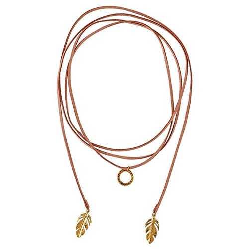 LuckyLy – Collares de Mujer – Gargantilla Chloé – Gamuza Rosa Pálido con Dijes Colgantes Color Oro en Forma de Hojas y Circular – Versátil y Multi-Vueltas, Tipo Choker - Regalo para Mujer