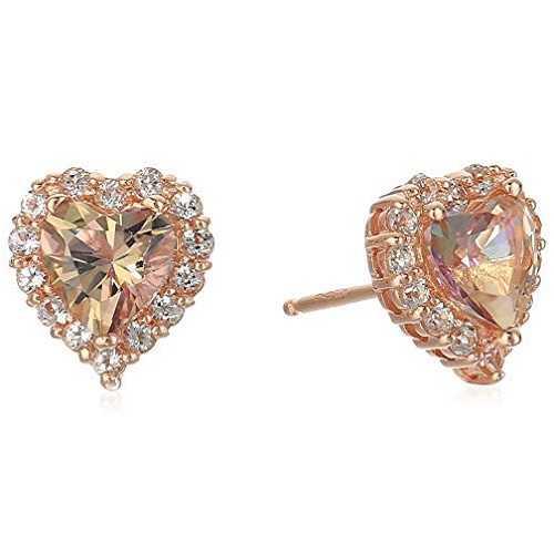 Para mujer plata de ley chapada en oro rosa corazón de circonio Swarovski Misty Rose topaz Halo Stud arete (2.4 quilates), talla única