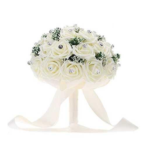 Pavian satén Rose ramo de novia de vidrio de lujo con Artificial babysbreath hecho a mano Rosas de diamantes, Ivory, 1