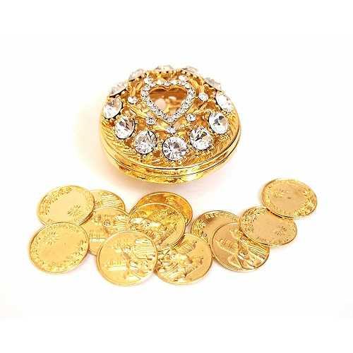 Ronda rhinestone Arras de boda con monedas Set, Oro
