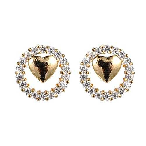 ShineDew Aretes de corazón aretes de Pendientes de corazón Pendientes chapados en Oro de 18 k aretes de Cristal Pendientes de Zirconia cúbica aretes de Diamantes