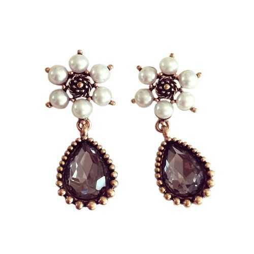 Vintage Ladies Earrings Artificial Gem Fashion Stud Pendientes Joyería de Las Mujeres, G