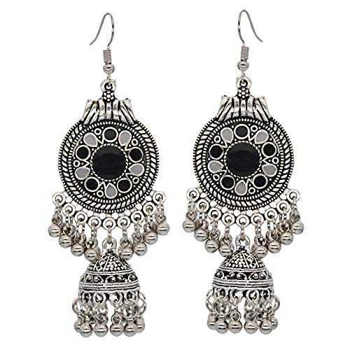 WQEarring Pendientes con borlas Joyas exóticas de la India Pendientes con borlas de la Linterna Vintage Bohemio Eldest, Negro