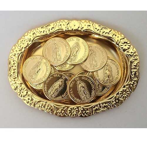 Wedding Arras. 13 Golden Coins with decorated Tray and Case