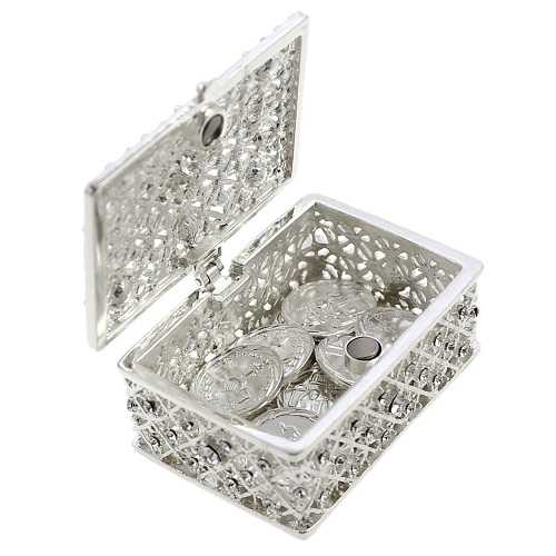 Wedding Unity Coins - Arras de Boda - Chest Box and Decorative Rhinestone Crystals Keepsake (Silver)