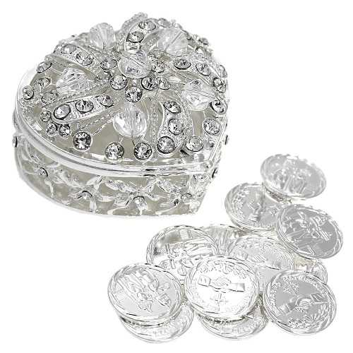 Wedding Unity Coins - Arras de Boda - Heart Shaped Chest Box with Decorative Rhinestone Crystals (Silver)