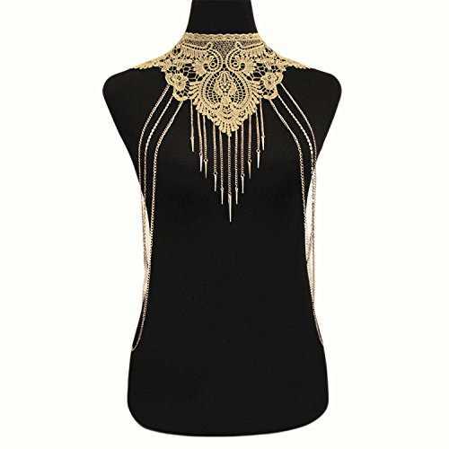 YANYAN&SHILIAN Joyas de moda de Europa y Estados Unidos / Collar de mujer gótica / collar falso de encaje / cadena de cuerpo de oro / collar