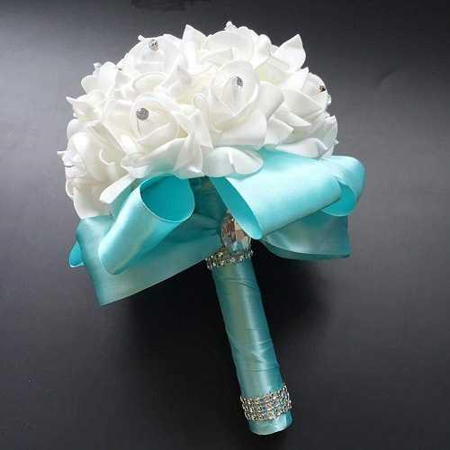 YT-ER Ramo de simulación Flor Artificial Boda romántica Europea Elegante Ramo de Novia Hermosa de OAM Ouquet Weding Supplis PK Pack de 2 Mujeres como Regalos,F