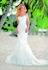 vestido de novia corte sirena para playa